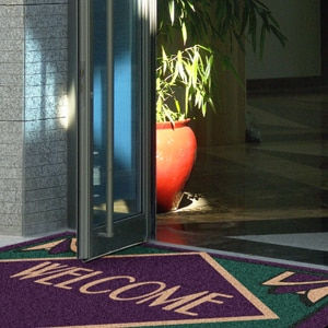 Welcome mat with logo image.