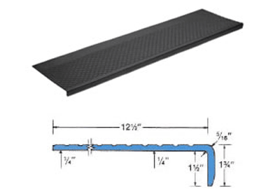 Outdoor Heavy Duty Rubber Stair Treads Profile And Size